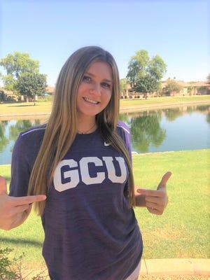 Greenway girls volleyball senior Tatum Parrott sports a GCU t-shirt after committing to the school.