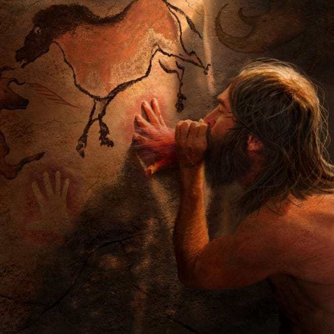 A drawing depicting the making of cave art by ancient humans.