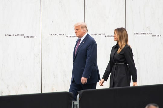President Donald Trump and First Lady Melania Trump arrive at the Flight 93 National Memorial near Shanksville, Pa., on Friday, September 11, 2020.