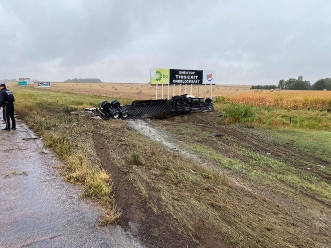 Emergency crews respond to an injury crash on Interstate 29 north of Beresford on Friday afternoon.