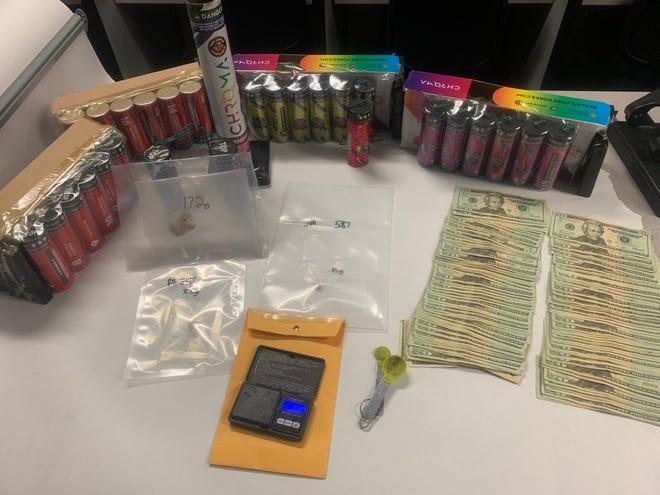 Oxnard police seized fentanyl, mortar fireworks, drug sales paraphernalia and cash amounts consistent with street-level drug sales during an arrest Thursday.