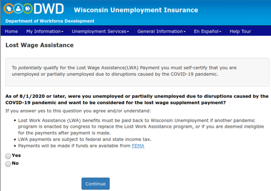 This screenshot by labor attorney Victor Forberger shows a message from the Wisconsin Department of Workforce Development.