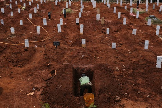 A municipal cemetery worker digs a grave in a special cemetery for suspected Covid-19 Coronavirus victim on September 11, 2020 in Jakarta, Indonesia. Jakartas governor, Anies Baswedan, has ordered the reimposition of strict measures to curtail rising cases of the Covid-19 Coronavirus, starting Monday Sept. 14 due to an alarming shortage of ICU and quarantine beds in hospitals treating an increasing number of COVID-19 patients.