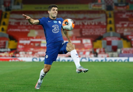 Christian Pulisic will be joined in attack by summer signings Timo Werner, Hakim Zeyich, and Kai Havertz, giving Frank Lampard a boost to mount a title challenge.  (Phil Noble/Pool via AP, file)