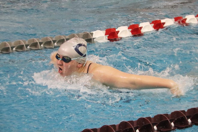 Mackenzie Aamoth swims in a meet at Grand Forks Central on Sept. 11. Aamoth finished second in the 100-yard backstroke Tuesday evening against Park Rapids.
