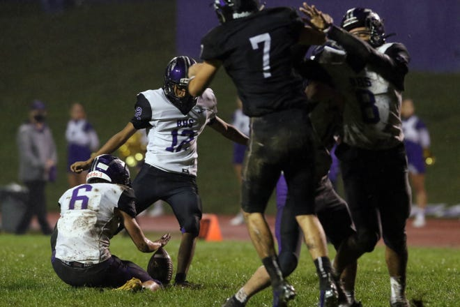 Burlington High School's Brian Velazquez (12) kicks a field goal during the first half of their game against Keokuk High School, Friday Sept. 11, 2020 in Keokuk.