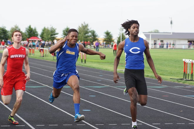 Wapello High School graduate Abdul Green (center) competes in the conference track meet in 2014. Green suffered a heart attack on March 9, 2019, which left him in a coma for three months. He continues to recover in a rehabilitation center in Keokuk.