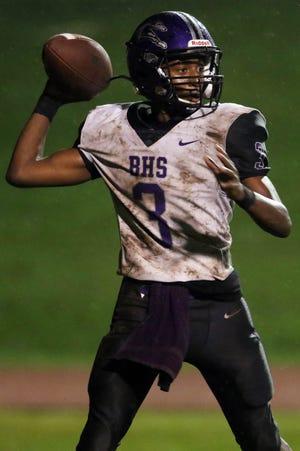 Burlington High School's quarterback Kanyae Baker (3) looks to pass the ball during the first half of their game against Keokuk High School, Friday Sept. 11, 2020 in Keokuk.