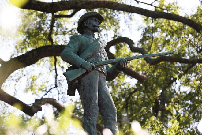 "This bronze statue of a Confederate soldier, known as ""At Ready,"" was removed in September.  It stood near the site of a violent white nationalist rally three years ago in Charlottesville, Virginia."