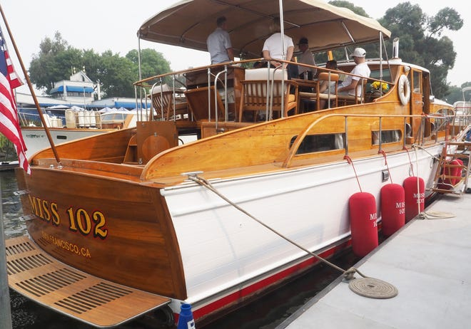 Miss 102, a yacht built by Stephens Marine, Inc., is one of the boats on display Saturday at Village West Yacht Club as part of the history presentation of Stephens boats during a weekend 100th birthday celebration of boat builder and designer Dick Stephens.