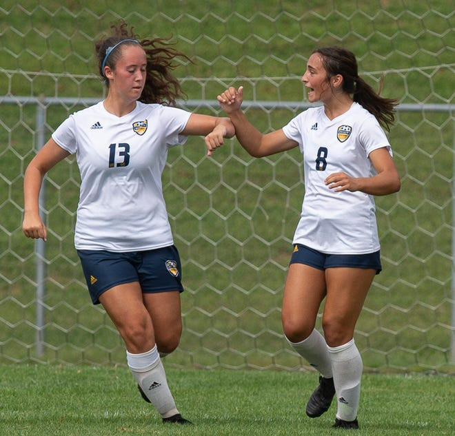 Kaylee Christine, left, and Ella Deevers are playing a critical role in Streetsboro's burgeoning attack.