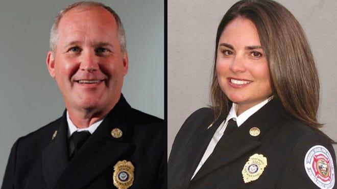 Former Fire Marshal Jim Walker (left), new Fire Marshal Mariana Ruiz-Temple (right).