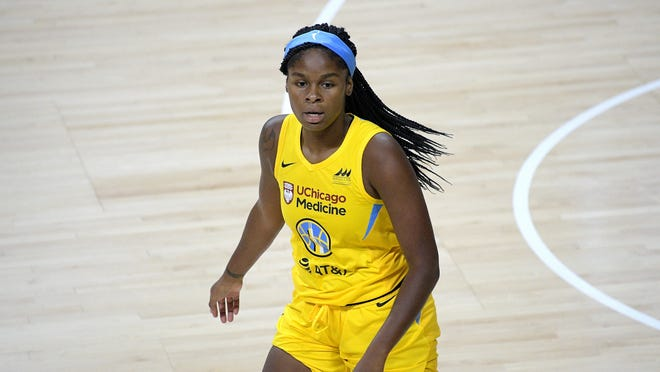 Former Oregon star Ruthy Hebard and her Chicago Sky teammates will take on Connecticut in the first round of the WNBA playoffs on Tuesday at 4 p.m. on ESPN2. (AP Photo/Phelan M. Ebenhack)