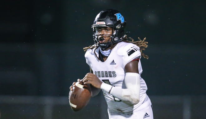Ponte Vedra's Jacobi Myers (1) looks for a receiver during a game against Nease on Friday at Nease High School.
