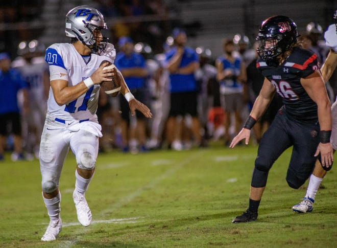 Bartram Trail quarterback Santino Marucci races away from the Creekside defense in the season opener. Marucci and the Bears meet top-ranked Sanford Seminole on Friday night.