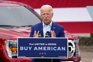 Democratic presidential candidate former Vice President Joe Biden speaks during a campaign stop on Friday at UAW Region 1 headquarters in Warren, Mich.