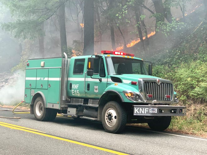 Klamath National Forest firefighters on the scene at the Slater Fire, burning in both California and Oregon.