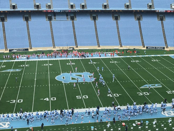 North Carolina offense (right) lines up to run a play from scrimmage in the first half Saturday in its season opener against Syracuse in an empty Kenan Stadium.
