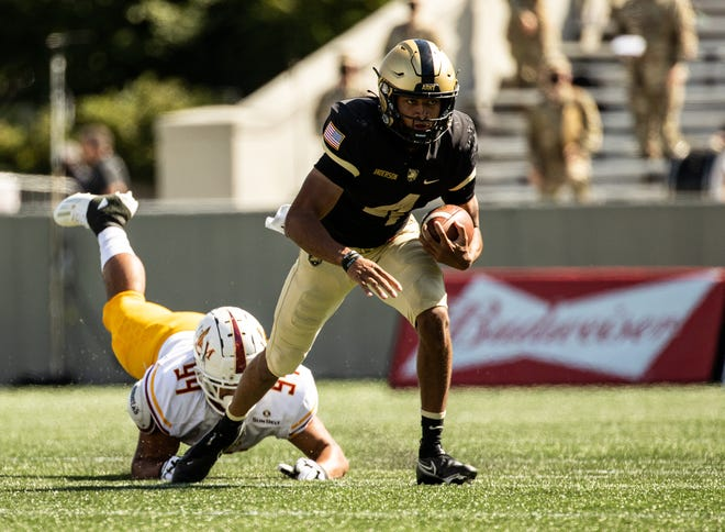 Quarterback Christian Anderson rushed for 95 yards and scored two touchdowns in Army's 37-7 win over Louisiana-Monroe . DUSTIN SATLOFF/ARMY ATHLETICS