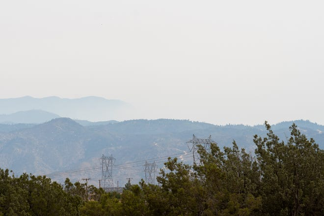Haze blankets the San Bernardino Mountains on Saturday, Sept. 12, 2020, while several large wildfires continue to burn across California.