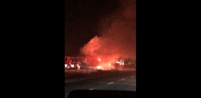 This screen grab of video shows a semitrailer burning on southbound Interstate 15 south of Bear Valley Road on Saturday, Sept. 12, 2020. The blaze closed two lanes on the freeway shortly after 12:30 a.m.