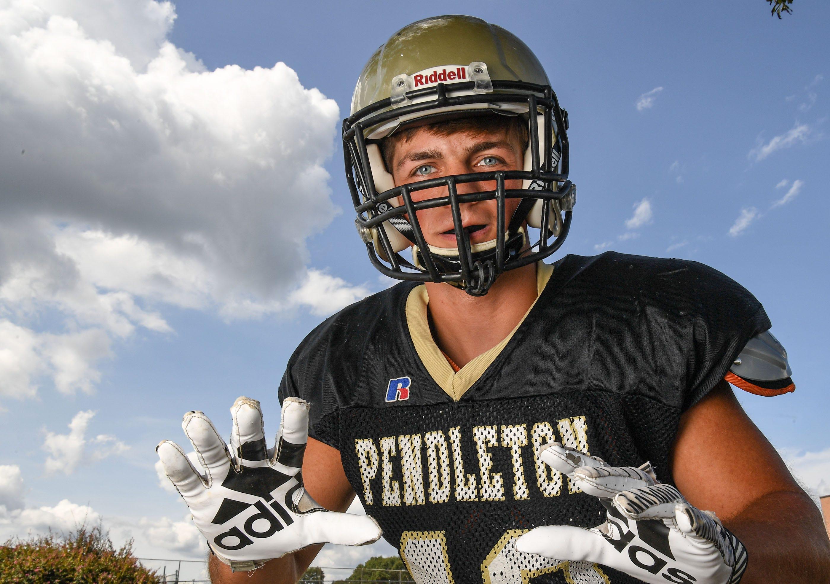 Pendleton High football linebacker Preston Nix in September 2020.