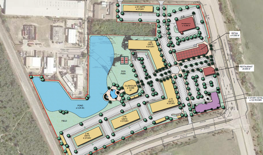 This February 2019 conceptual plan shows five four-story housing buildings, a five-story hotel with 122 rooms, and a trio of commercial buildings across the 22-acre site bordering FAR Chemical in Palm Bay.