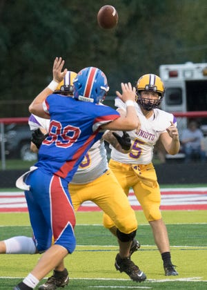Unioto's Isaac Little thrown a pass during a game against Zane Trace on Friday, Sept. 11, 2020. Unioto defeated Zane Trace 23-18.