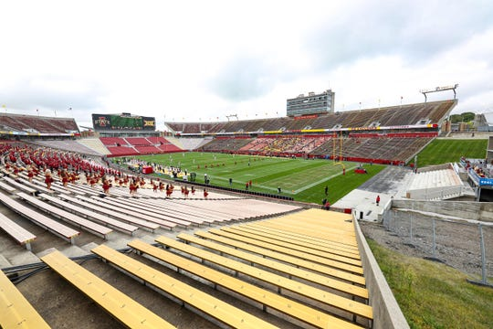 The Iowa State Cyclones kicked off to the Louisiana-Lafayette Ragin Cajuns to start the Big 12 season at Jack Trice Stadium with no fans in attendance Sept. 12.