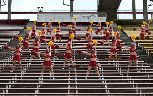 Sep 12, 2020; Ames, Iowa, USA; Iowa State Cyclones cheer squad root for the Cyclones from the empty stands before their game with the Louisiana-Lafayette Ragin Cajuns at Jack Trice Stadium. Mandatory Credit: Reese Strickland-USA TODAY Sports