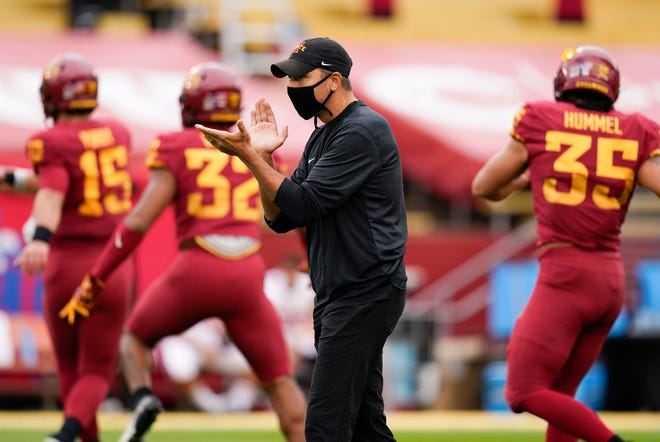 Iowa State head coach Matt Campbell stands on the field before an NCAA college football game against Louisiana-Lafayette, Saturday, Sept. 12, 2020, in Ames, Iowa. (AP Photo/Charlie Neibergall)
