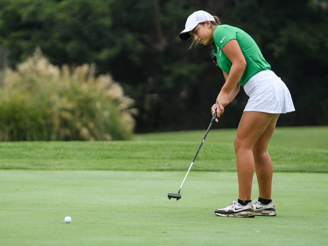 North's Reagan Sohn putts during the SIAC golf tournament on Saturday, Sept. 12, 2020. The Huskies shot a 305 to take the lead after day one of the state finals at Prairie View Golf Club.