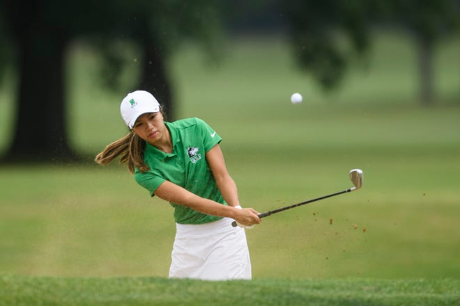 North's Lauren Le blasts out of a sand trap at hole 7 during the Southern Indiana Athletic Conference golf tournament at McDonald Golf Course in Evansville, Ind., Saturday, Sept. 12, 2020.