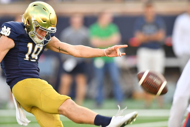 FILE – Jay Bramblett averaged 43.8 yards on his six punts and converted a key fake to get the Notre Dame offense going.