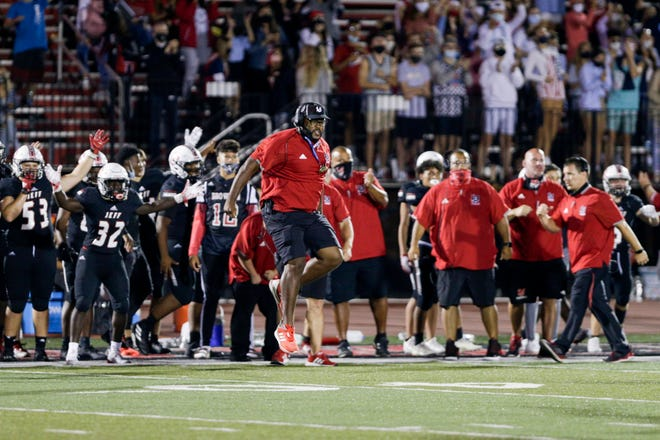 Lafayette Jeff defensice line coach Craig Henderson reacts to a play during the third quarter of an IHSAA football game, Friday, Sept. 11, 2020 in Lafayette.