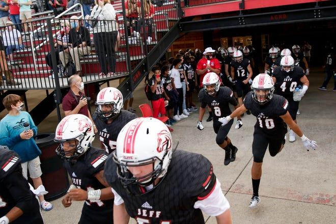 Lafayette Jeff takes the field for the first quarter of an IHSAA football game, Friday, Sept. 11, 2020 in Lafayette.