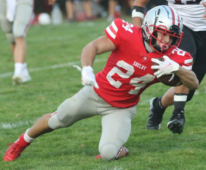 Shelby's Owen Fisher was voted the Mansfield News Journal Football Player of the Week.