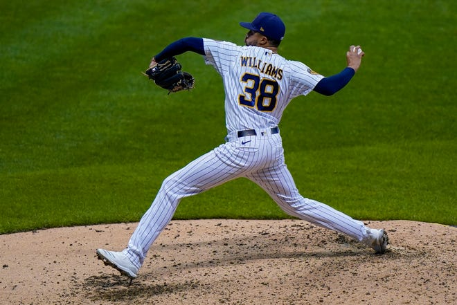 Brewers reliever Devin Williams stranded a Cubs runner on third base for a scoreless eighth inning in which he struck out two.