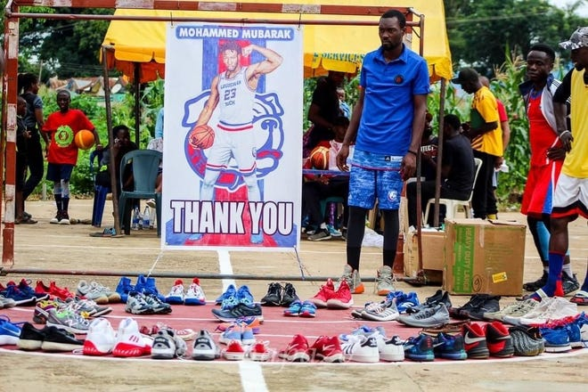 """Louisiana Tech University alumnus and graduate student, Mubarak """"Mo"""" Muhammed, is using his ties to Bulldogs Basketball and the skills he learned in the industrial engineering program to provide children with basketball shoes and a well-lit court to play on."""