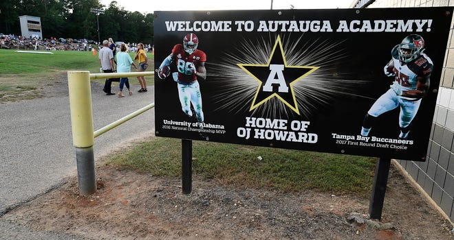 A sign honoring OJ Howard on the Autauga Academy campus in Prattville, Ala., is seen before the Patrician game on Friday September 11, 2020.
