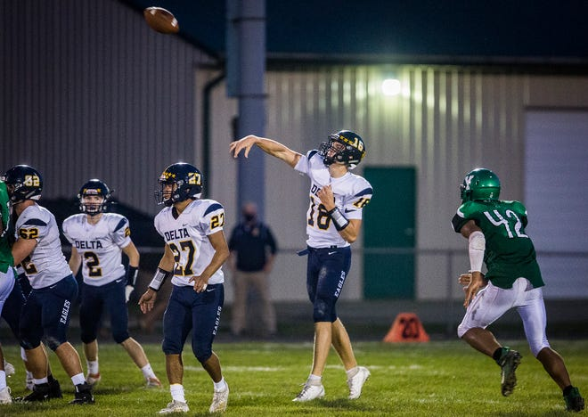 FILE -- Delta quarterback Brady Hunt throws a pass during the Eagles matchup Sept. 11, 2020, against Yorktown.