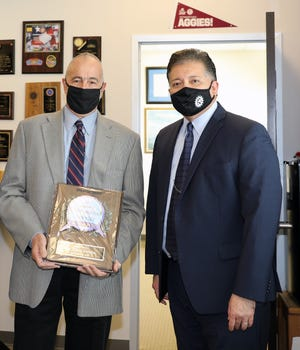 Former Utilities Director Jorge Garcia, P.E., (left) and Mayor Ken Miyagishima, (right) stand together for the presentation of the Mayor's Distinguished Service Award presented on August 26, 2020.