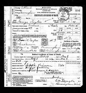 George Taylor's death certificate.