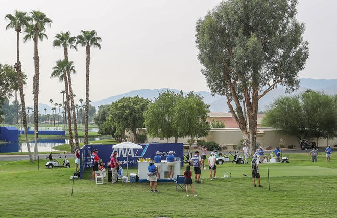 Lexi Thompson tees off in front of a sparse gallery of volunteers and media during the ANA Inspiration in Rancho Mirage, September 12, 2020.