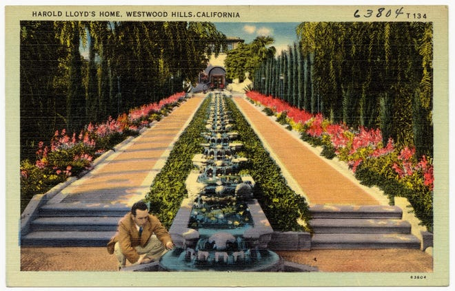 A postcard of a waterfall cascade at Greenacres with Harold Lloyd.