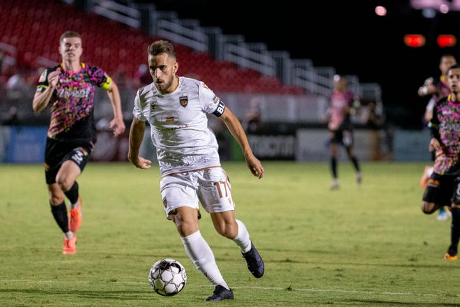 Phoenix Rising's Santi Moar drives to the goal against the Las Vegas Lights during the 1st half on Sept. 11, 2020, at Casino Arizona Field in Tempe, Ariz.
