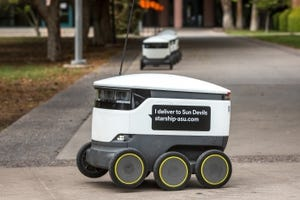 Starship Technologies' autonomous food-delivery robots near Interdisciplinary B building on the Tempe campus.