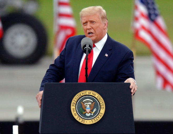 President Donald Trump speaks during a rally at MBS International Airport, Thursday, Sept. 10, 2020, in Freeland, Mich. (AP Photo/Jose Juarez)