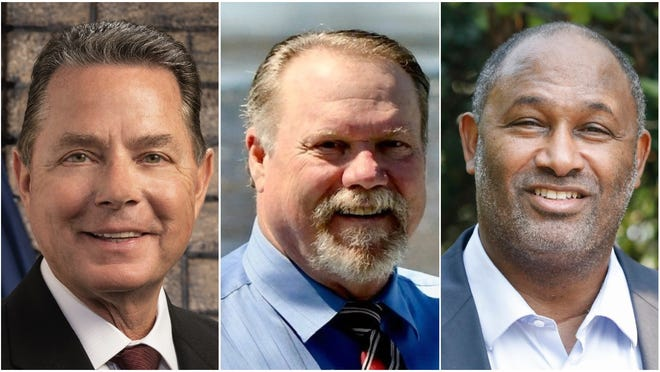 From left to right: Redding City Council candidates Mark Mezzano and Jack Munns, and Shasta College Board of Trustees candidate Stephen Bell.