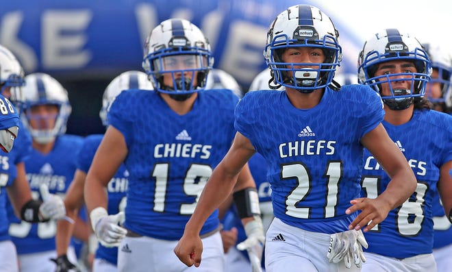 The Lake View Chiefs take the field for a game against Sweetwater on Friday, Sept. 11, 2020.
